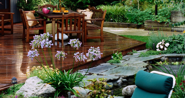 nice shiny deck with great landscaping