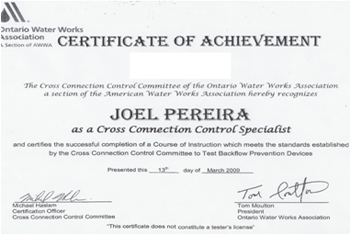 Certificate of Achievement - Joel Pereira, Cross Connection Control Specialist